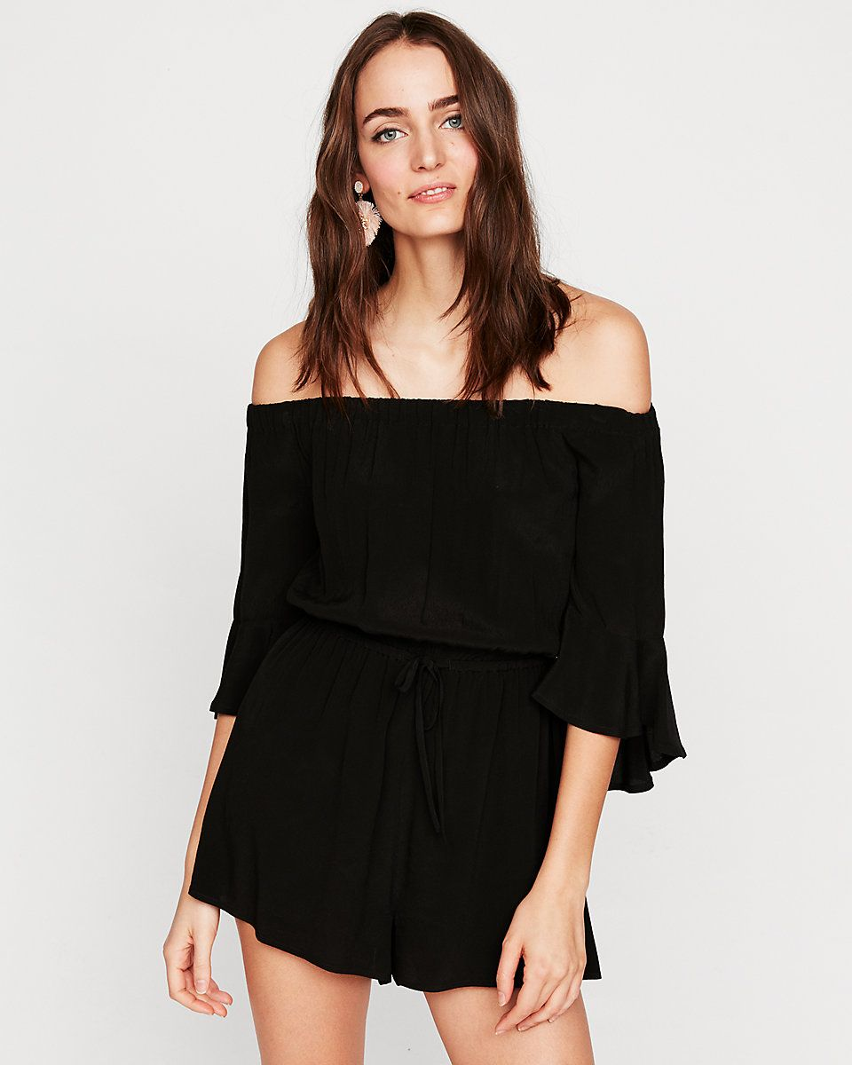 7a0a029fe34 Solid Off The Shoulder Bell Sleeve Romper