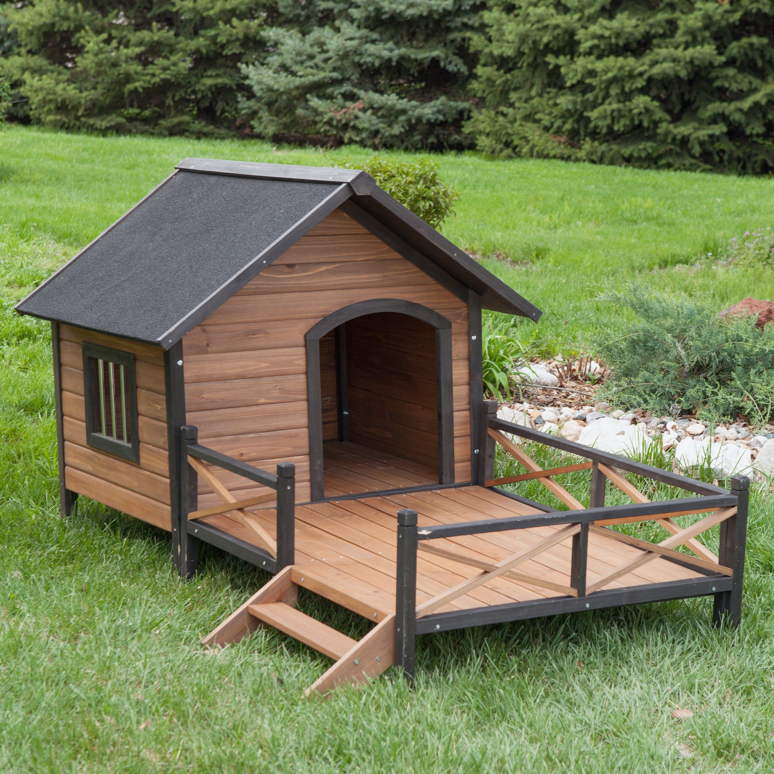 Boomer George Lodge Dog House With Porch Large 199 99 Hayneedle