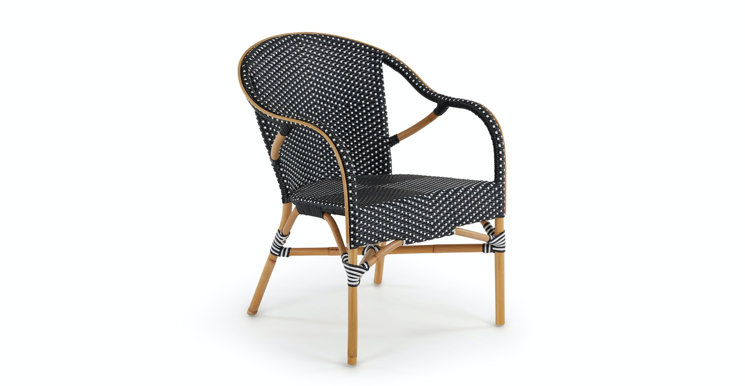 Black And White Toulouse Rattan Wicker Dining Armchair Article Wicker Dining Armchair Outdoor Dining Chairs Contemporary Outdoor Furniture