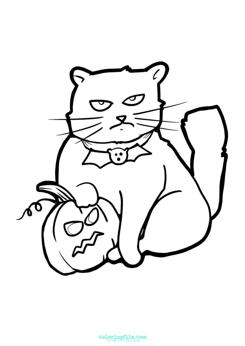 Halloween Cat On Pumpkin Coloring Pages From 100 Halloween