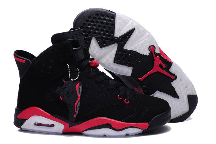 Authentic 2015 nike air jordan retro 6 vi shoe woblack red basketball shoe for sale