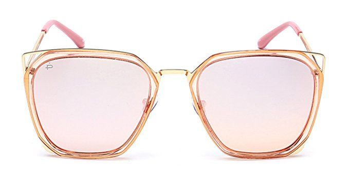 "3a3ee8229aa18 PRIVÉ REVAUX ""The Queen""  Limited Edition  Handcrafted Designer Geometric  Polarized Sunglasses For Women (Rose Gold)"