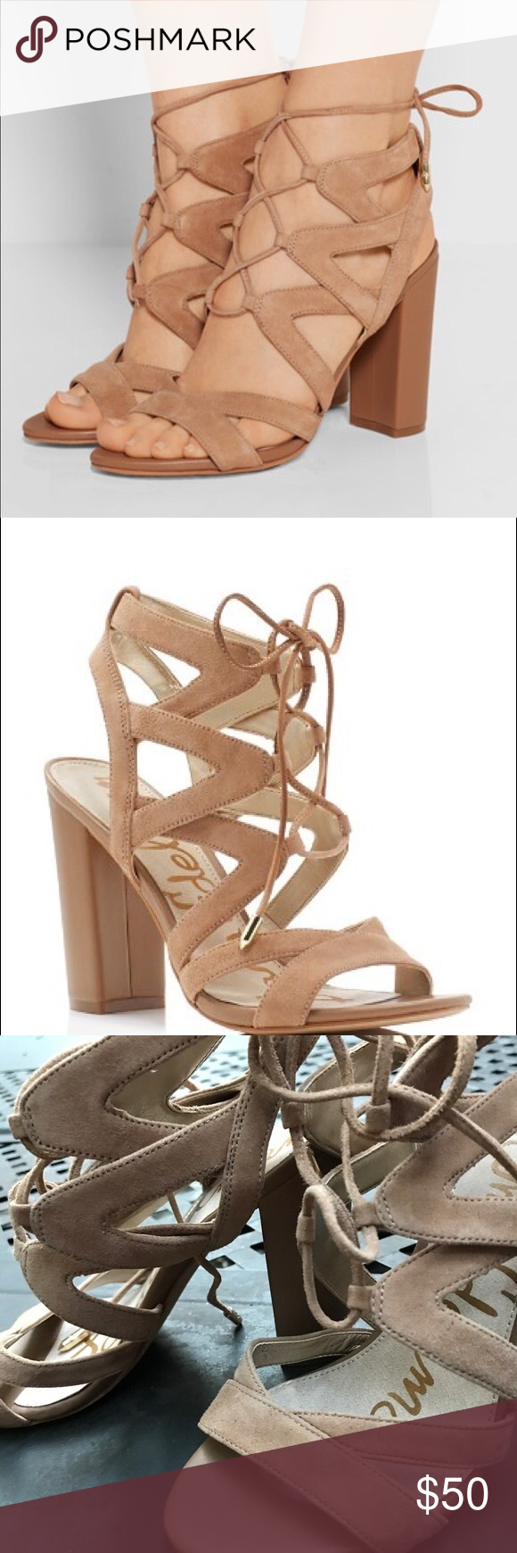 "bd6533a2b35402 Sam Edelman Yardley Sandal 5.5 Nude never worn! like new Sam Edelman aside  Sandal 4"" covered block heel open toe caged lace up vamp padded footbed  smooth ..."