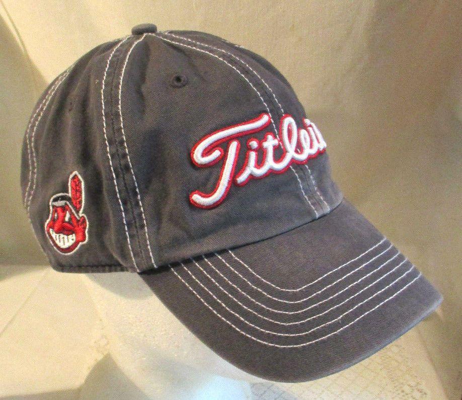 TITLEIST INDIANS CHIEF WAHOO GREY ADJUSTABLE BASEBALL GOLF CAP HAT   TitleistFortySeven  ClevelandIndians 8cc3e24c24c