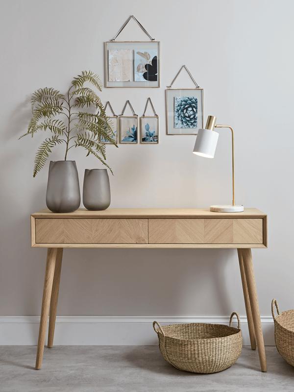 Chevron Oak Storage Console Table Scandinavian Furniture Design