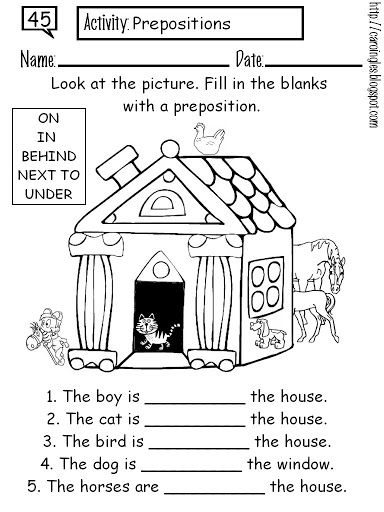 Preposition Coloring Worksheet English Teacher Resources English Classroom Worksheets For Kids
