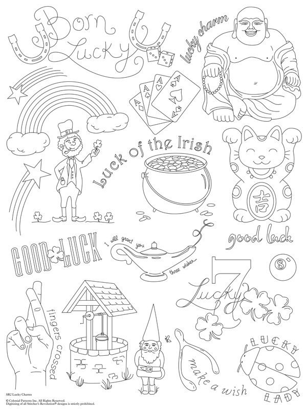 Lucky Charms Embroidery Pattern Etsy Embroidery Patterns Pattern Coloring Pages Charm Tattoo