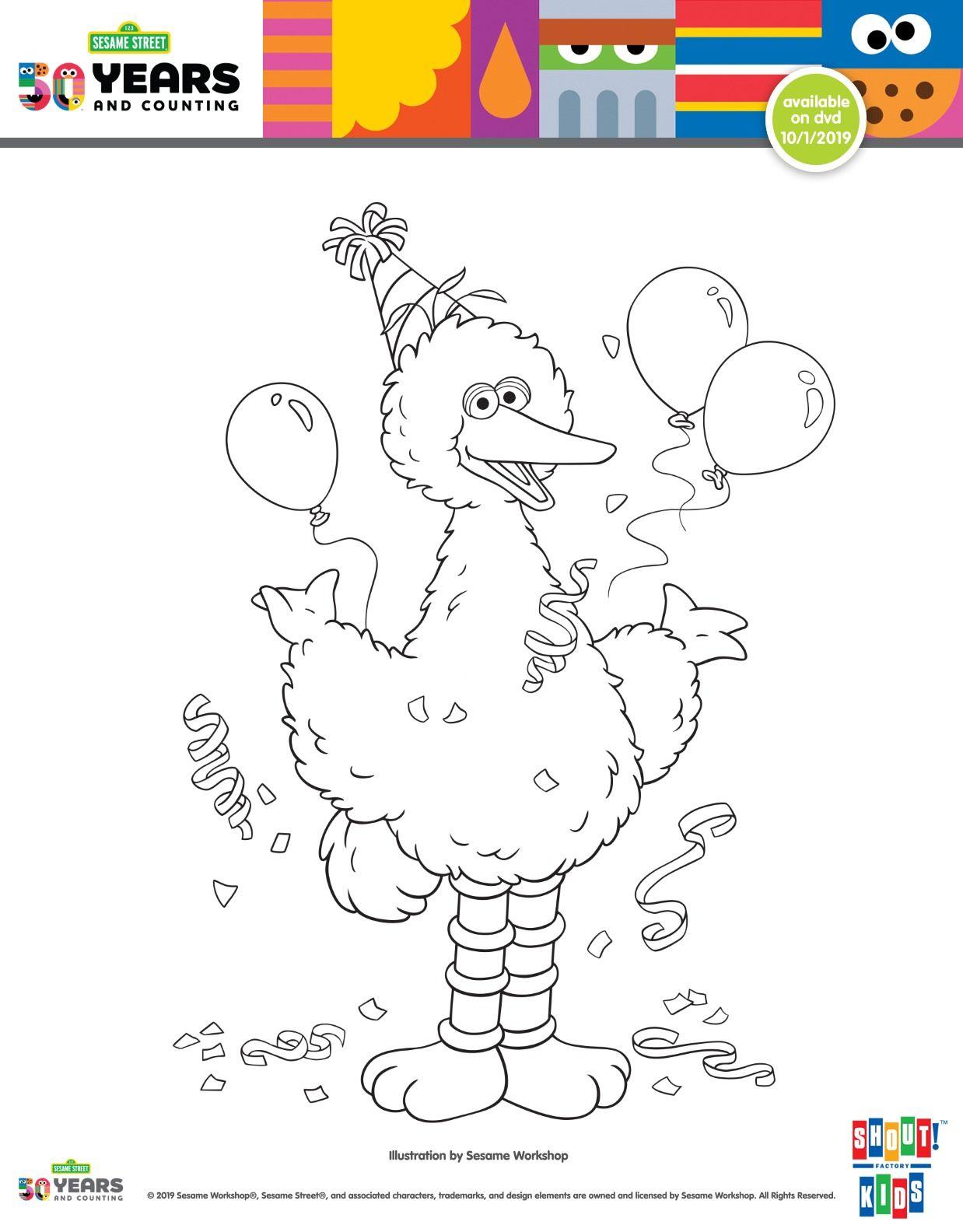 Free Printable Big Bird Birthday Coloring Page From Sesame Street Sesamestreet Bigbird Fr Birthday Coloring Pages Sesame Street Coloring Pages Bird Birthday