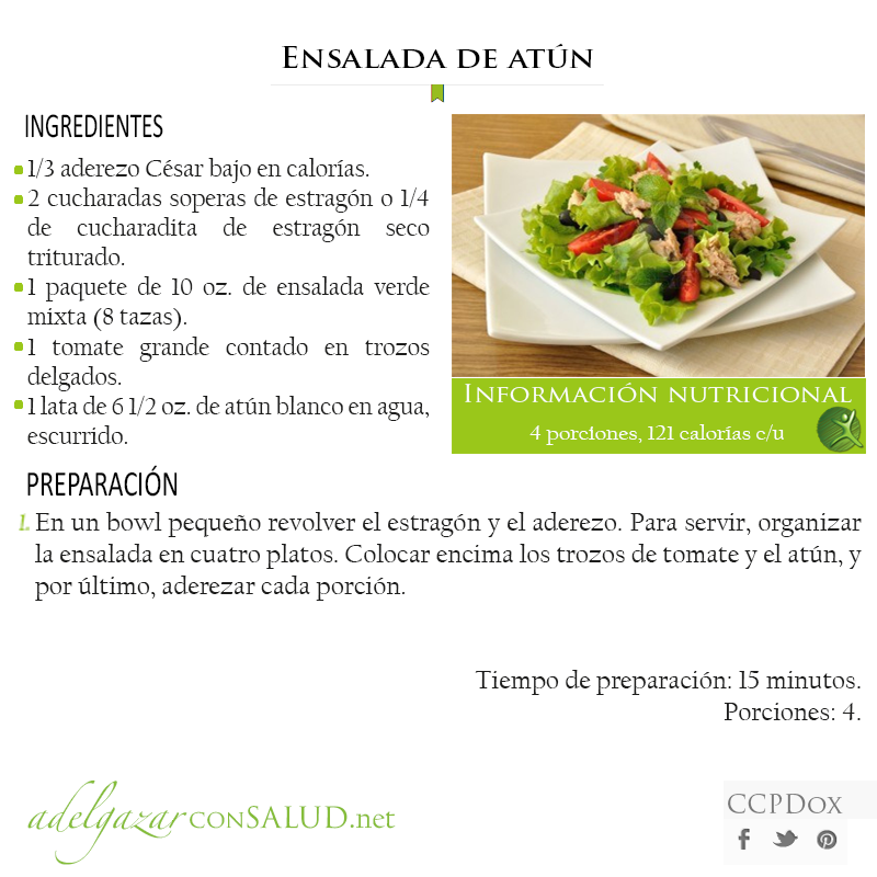 Receta saludable Ensalada de atn  Recetas Saludables