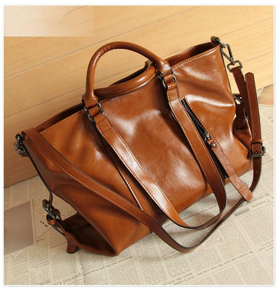 Women leather bag Retro Brown Leather Tote Bag-Shopper-Ipad ...