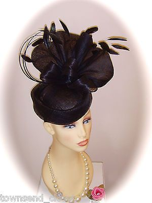Gwyther snoxell black pillar box  fascinator for races weddings  formal e166a5c06cb