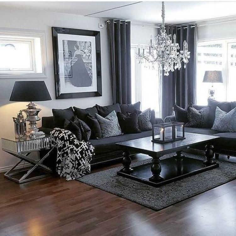 40 Awesome Grey Gray Living Rooms For Gorgeous Stylish Spaces Dark Living Rooms Black Furniture Living Room Black Living Room