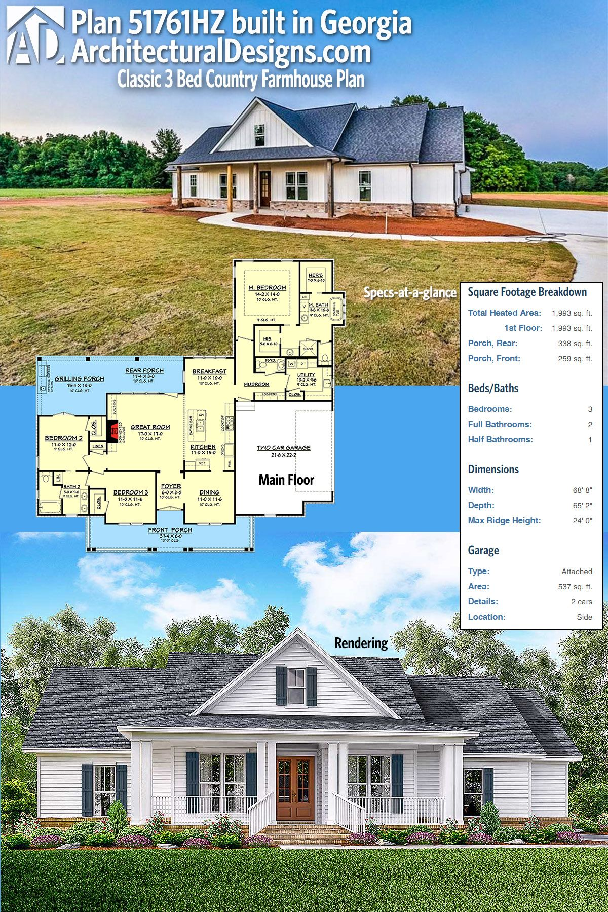 Ordinaire Our Client Built House Plan 51761HZ In Georgia On A Slab Foundation To  Spec. We Think It Looks Great! Ready When You Are. Where Do YOU Want To  Build?