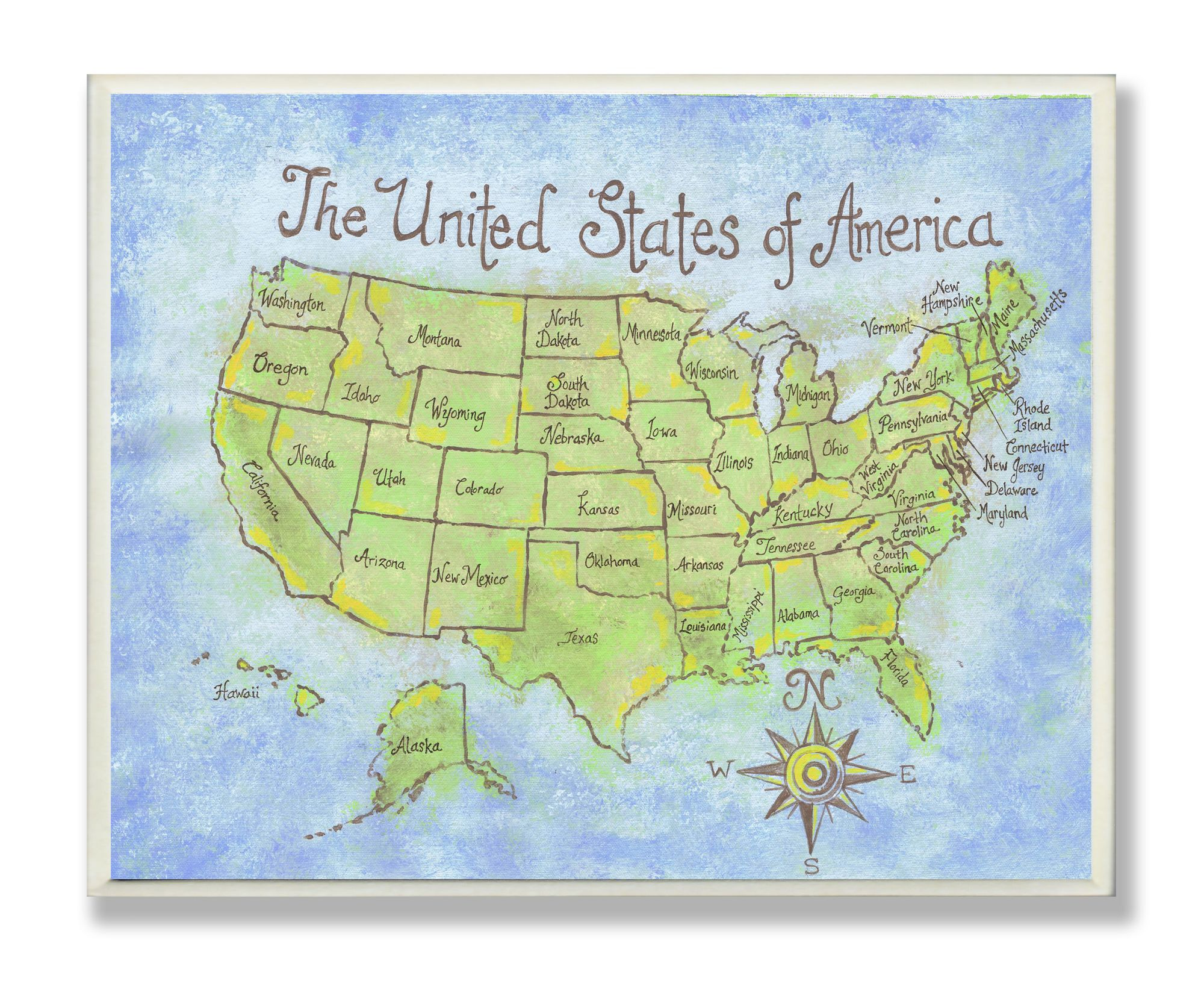 The Kids Room USA Map Rectangle Wall Plaque | Kid friendly room ...