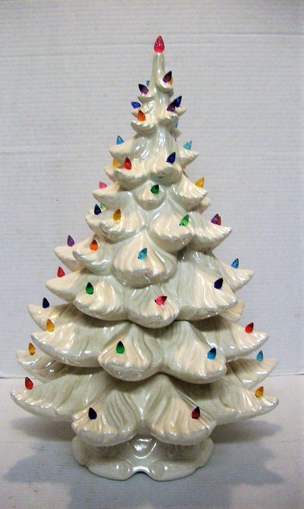 Details About Vintage Atlantic Mold White Ceramic Christmas Tree