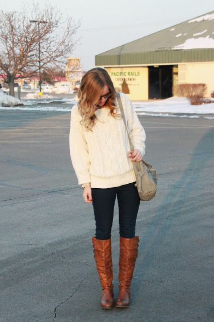 Winter outfit. White jumper. Brown boots. LIKE