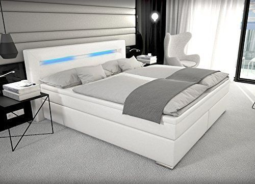 Designer Boxspring Bett Mit Led Beleuchtung 180x200 Cm Farbe Weiss