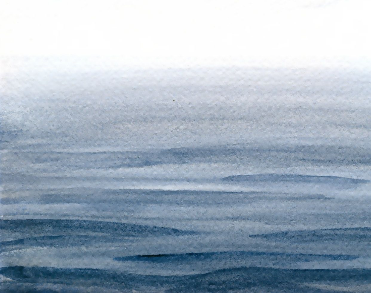 Original Seascape Painting Calm Sea Watercolor Grey Water Art