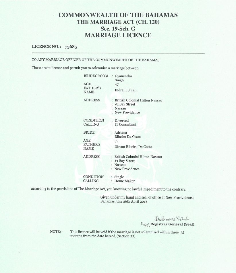 Marriage License, Destination