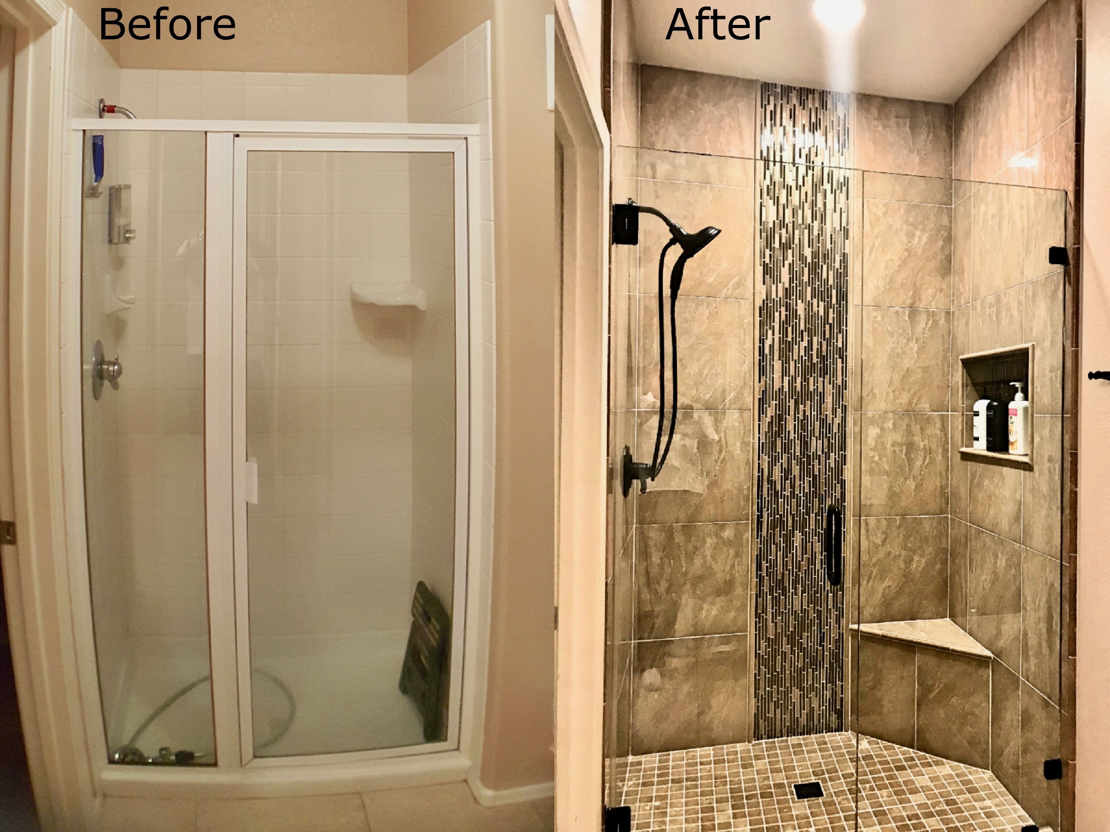 Shower Remodel Scottsdale Before And After In 2020 Shower Remodel Small Shower Remodel Bathroom Remodel Shower