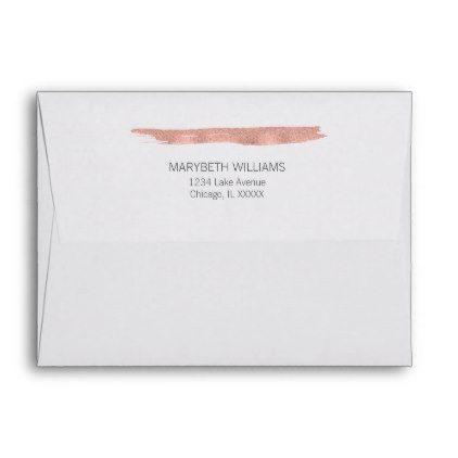 Rose Gold Brushstroke Bridal Shower A2 Envelope - gold wedding - a2 envelope template