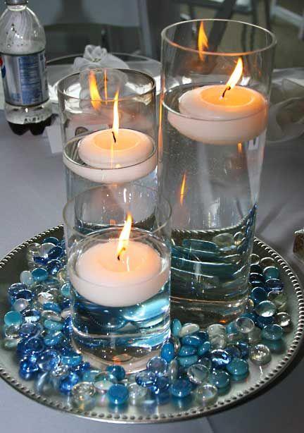 Random Centerpiece Idea Diff Colors Marble Candle Candles Centerpieces