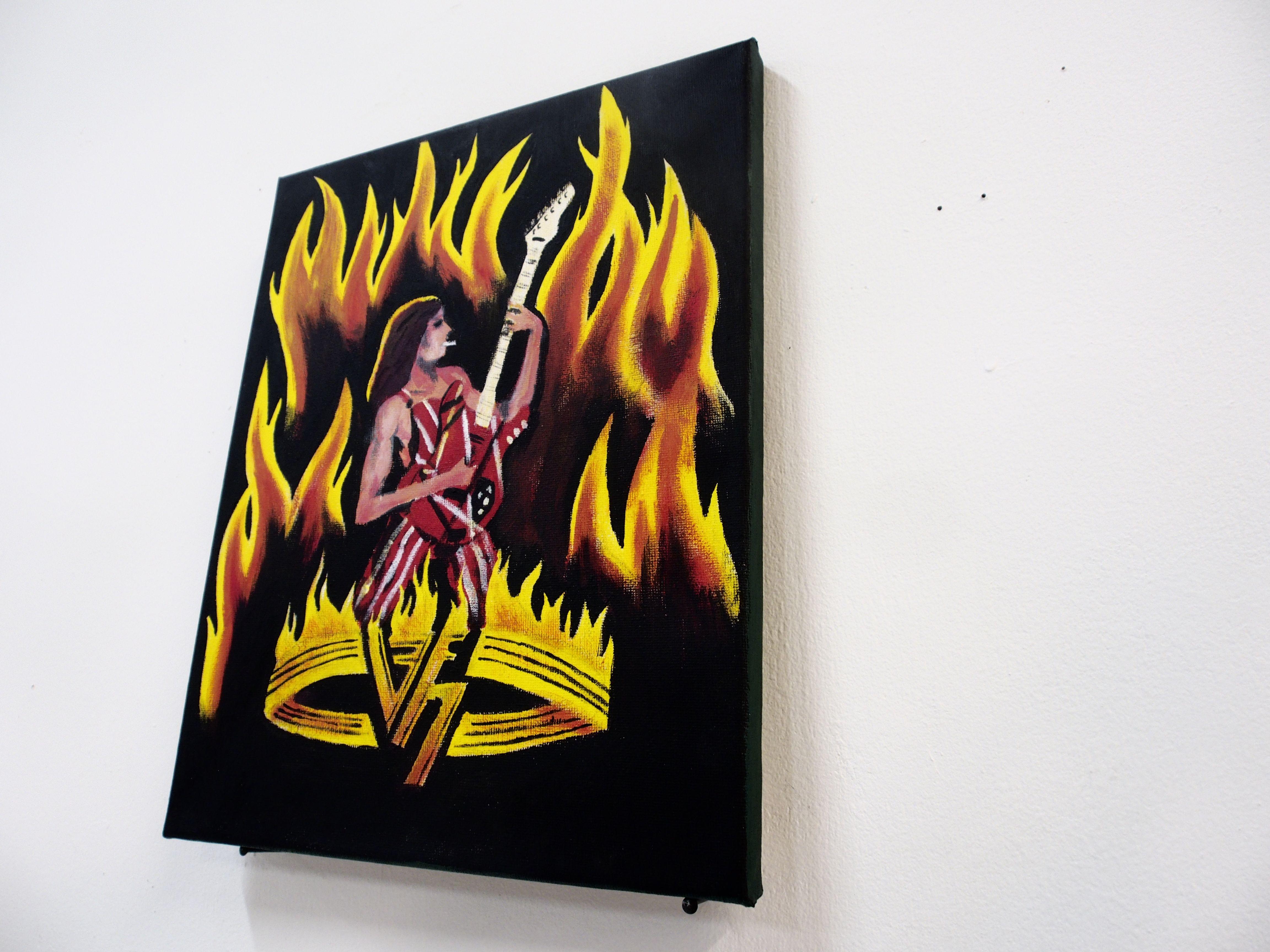 Frank Vivier, Super Rock, acrylique sur toil, 24 par 30cm, 2017