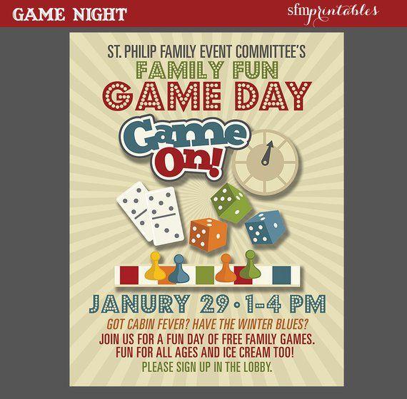 Night Poster Fun Dice Template Church School Community Movie And Bingo Flyer Invitation