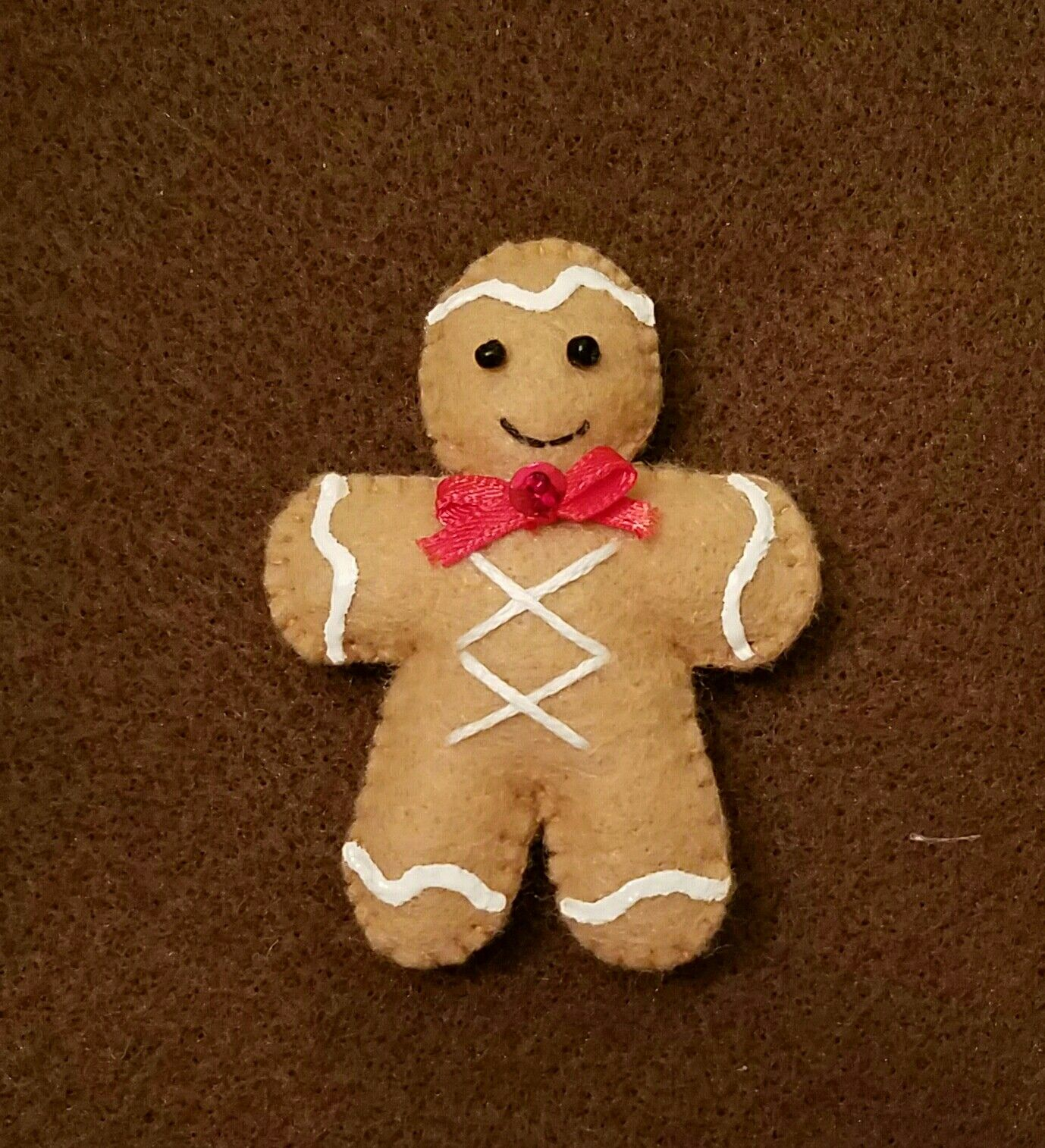 Gingerbread Man Ornament I Made That Matches Penny Rug Tree Skirt