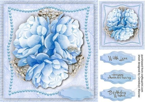 Beautiful Blue Peony Roses #bluepeonies Beautiful Blue Peony Roses on a Shaped Pearl Mat that could be used for any occasion , has three greeting tags and a blank one #bluepeonies