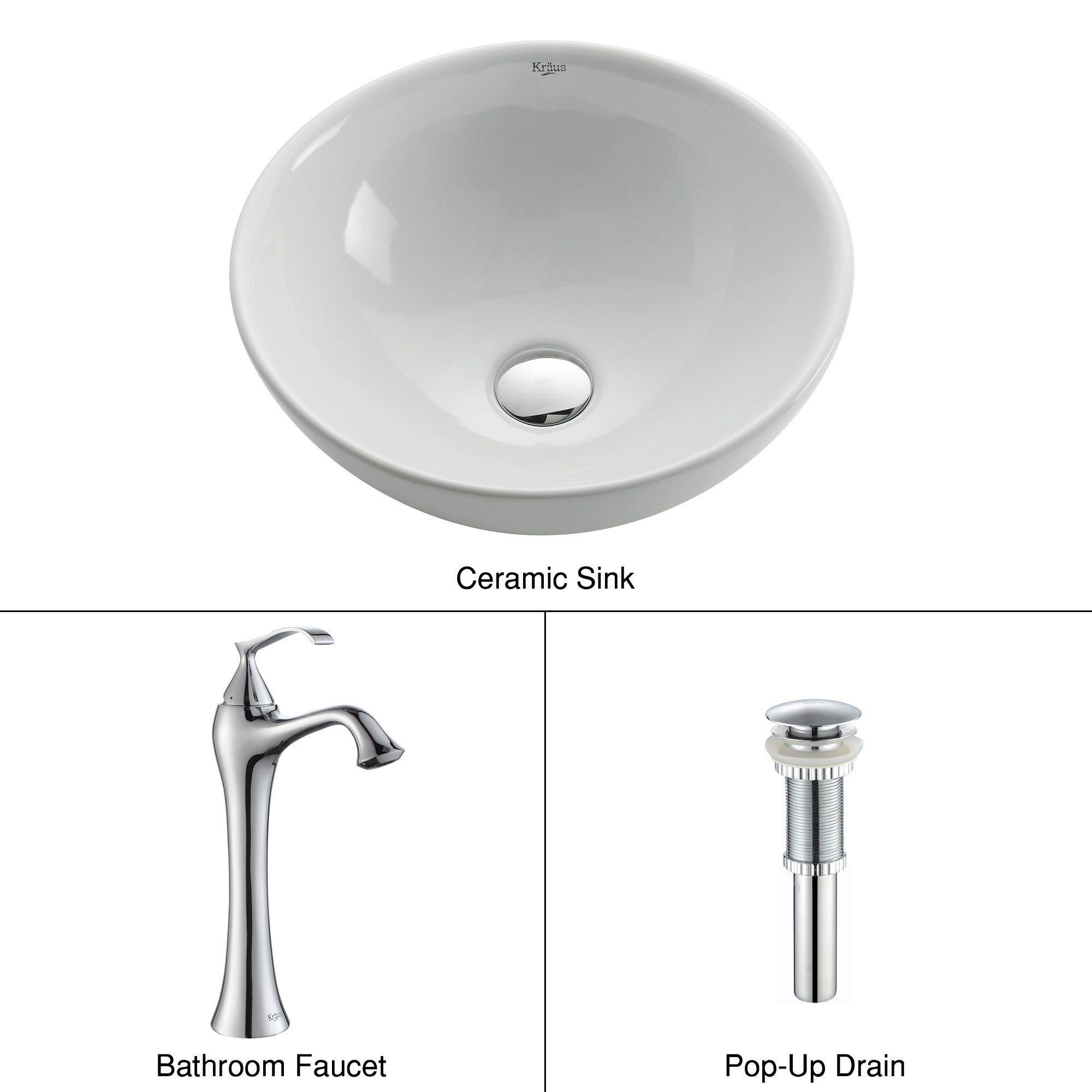 Kraus C-KCV-141-15000CH White Round Ceramic Sink and Ventus Faucet Chrome