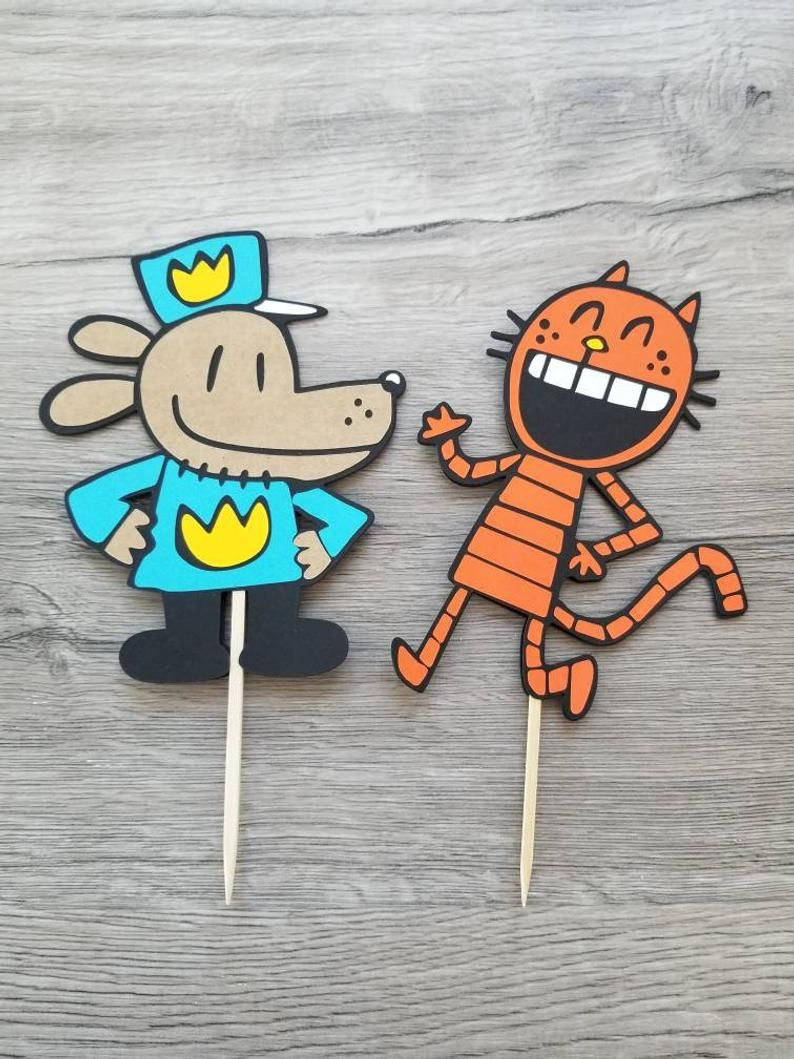 Dogman birthday decorations dog man cake toppers set of 2