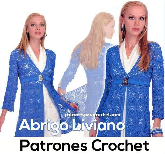 Abrigo liviano para tejer al crochet / Patrones y paso a paso ...