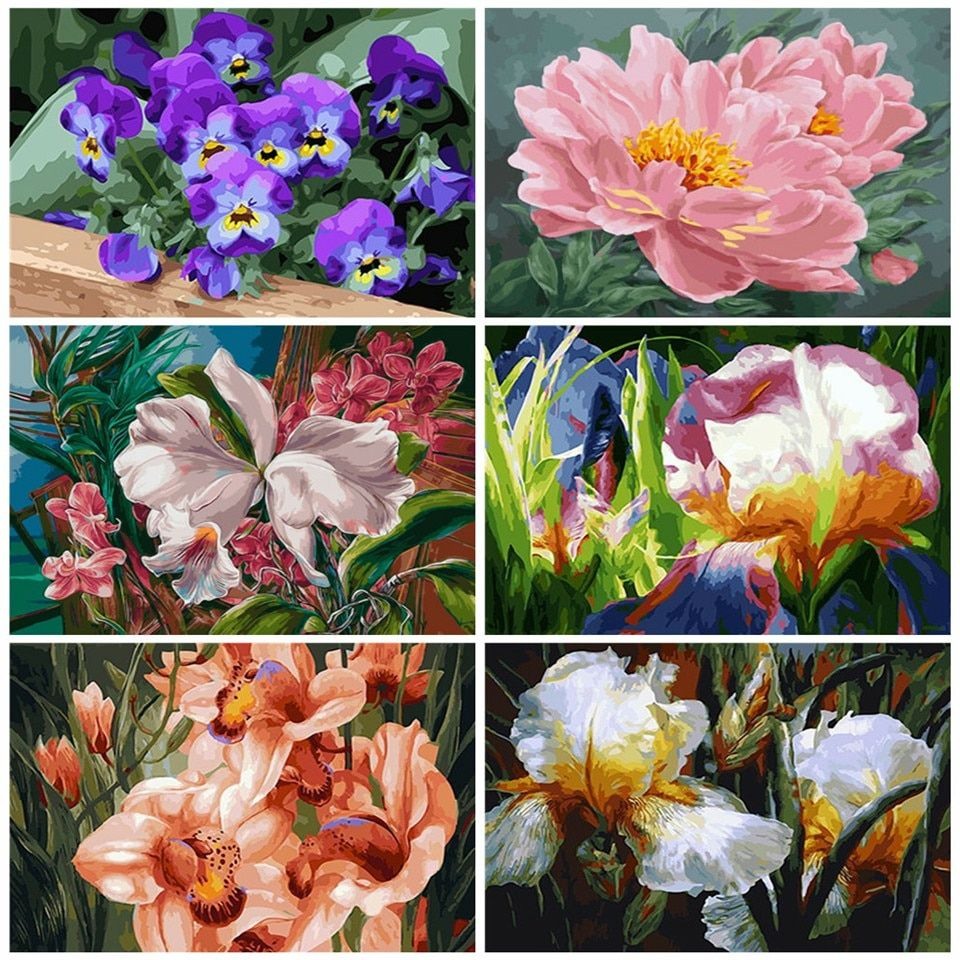 Flowers Oil Painting By Numbers DIY Paint Canvas Handpainted Wall Art Home Decor