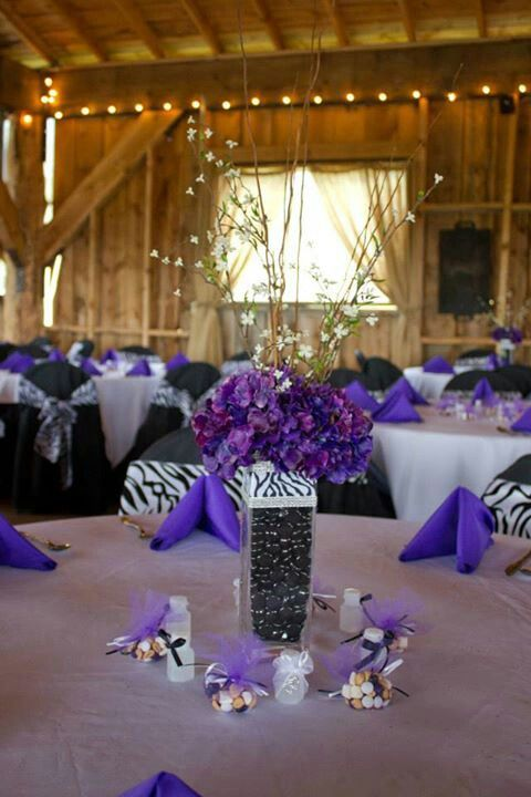 Purple and zebra wedding decor dream wedding purple black and purple and zebra wedding decor junglespirit Images