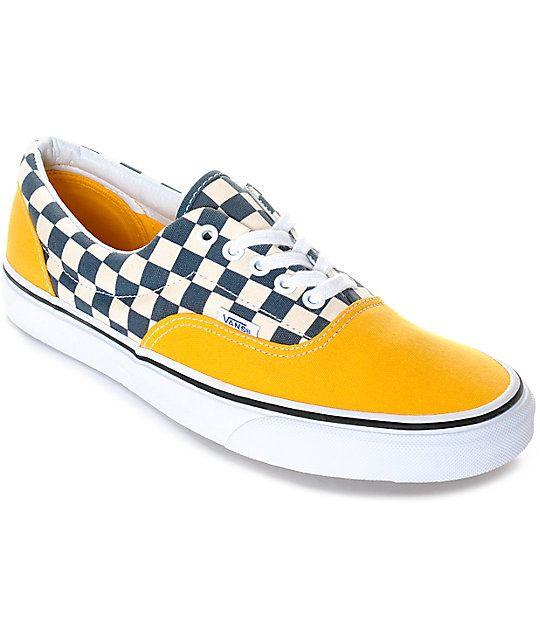 Vans Era 2-Tone Checkered Yellow & White Skate Shoes | Zumiez