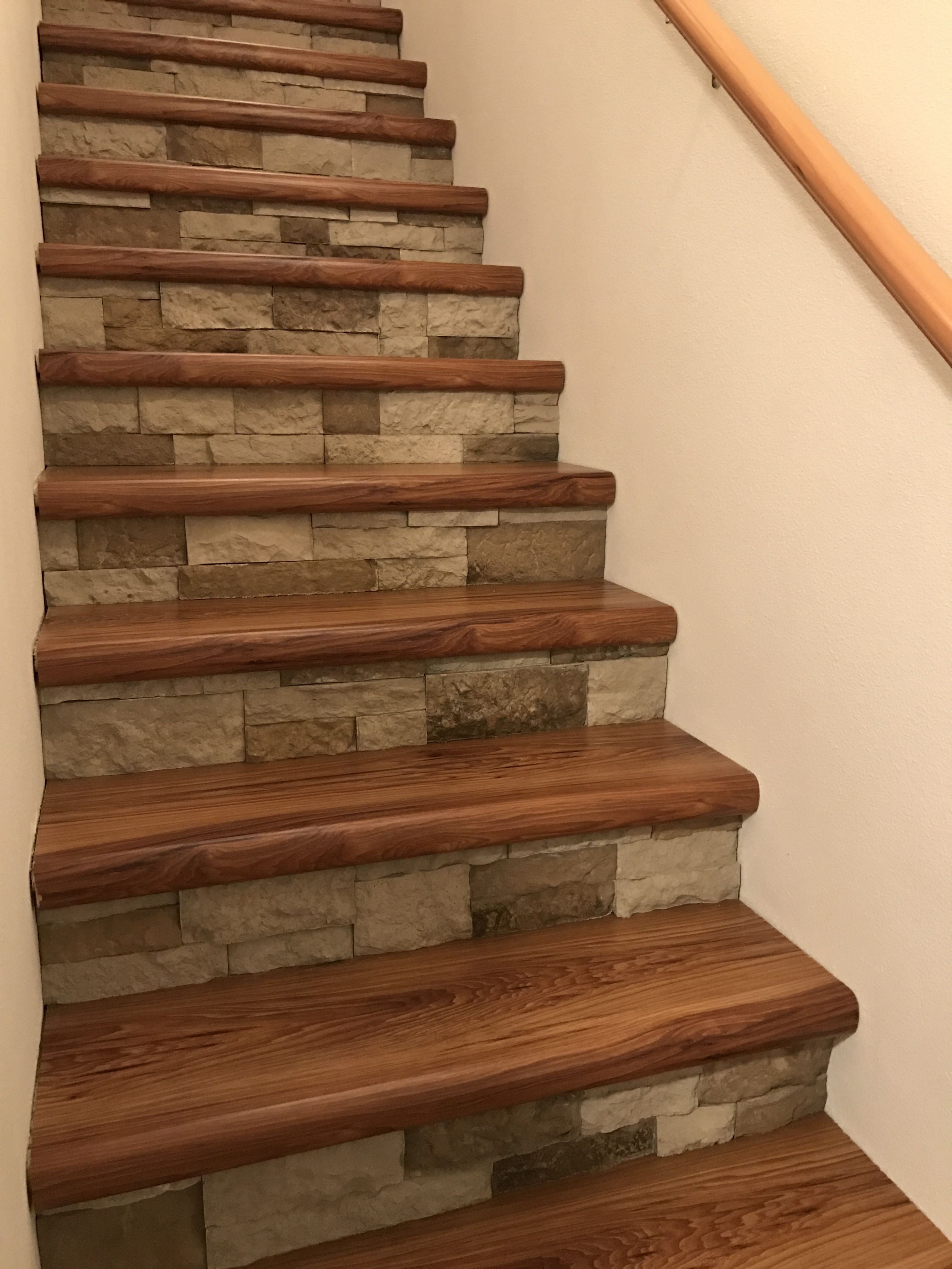 Cap A Tread And Airstone Stairs No More Carpet Took About 2 Days | Flooring For Stairs Not Carpet | Stair Tread | Stain | Staircase Makeover | Bullnose Carpet | Laminate Flooring