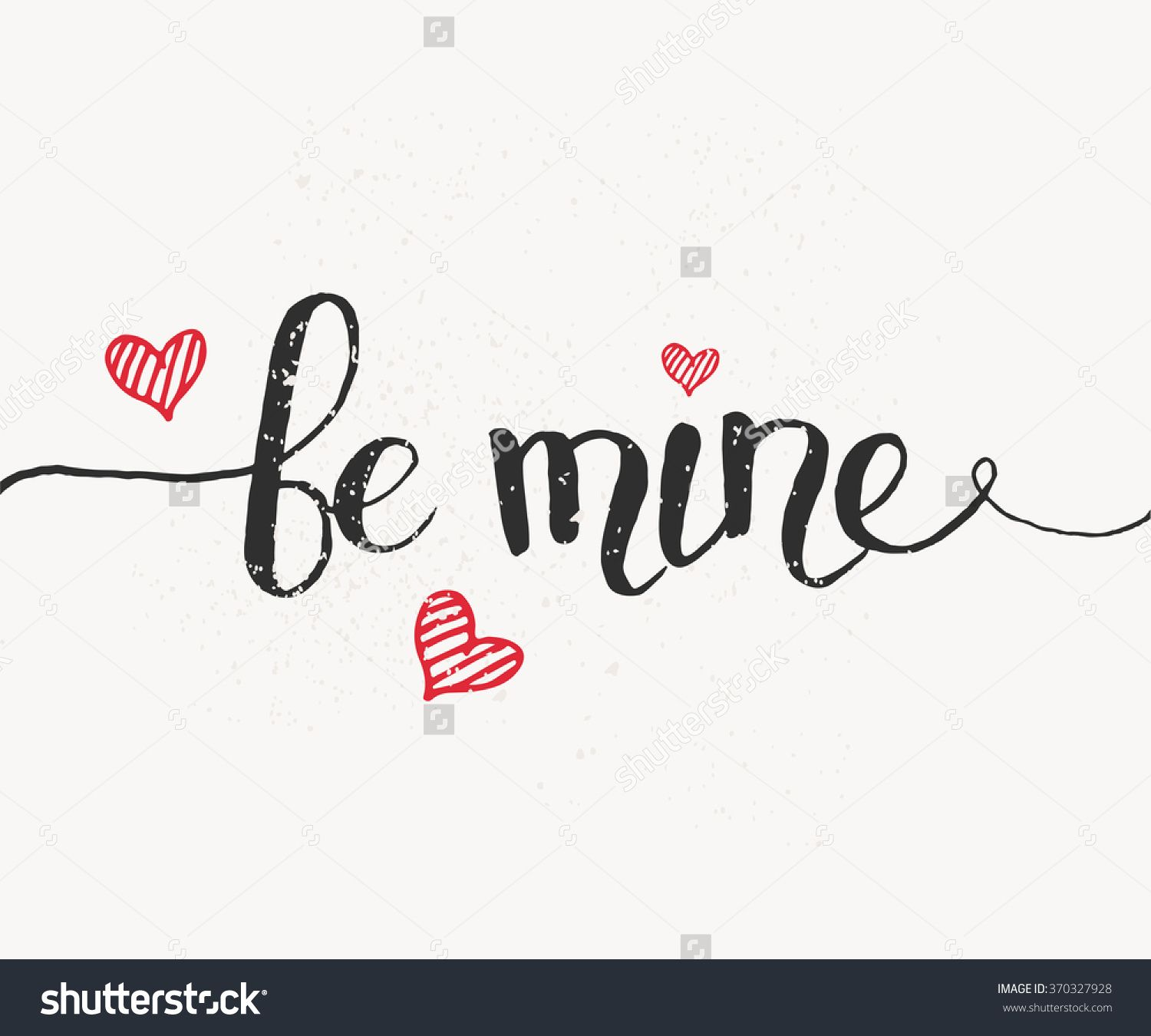 Hand Sketched Be Mine Text As ValentineS Day Logotype Badge And