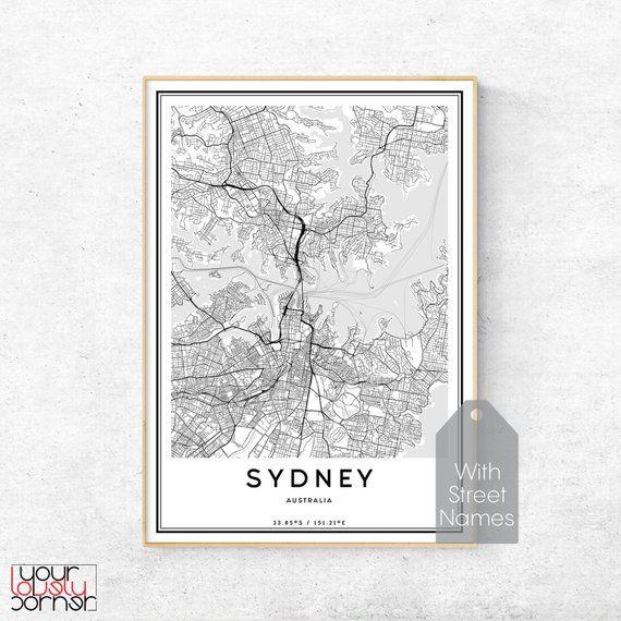 Large Map Of Australia Printable.Sydney Map Print Sydney City Street Map Poster Sydney Map