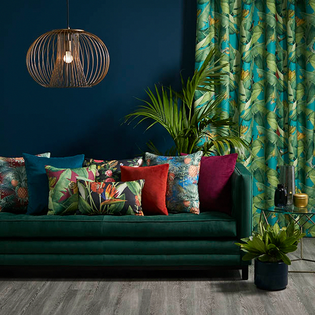 Warwick Fabrics: COPACABANA Heavy Commercial #upholsteryfabric #drapery #tropical #print #contemporary #jungle #animals #greenery #tropicalbedroom