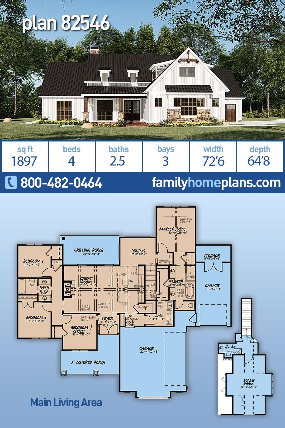 Farmhouse Style House Plan 82546 With 4 Bed 3 Bath 3 Car Garage House Plans Farmhouse Farmhouse Style House Farmhouse Plans