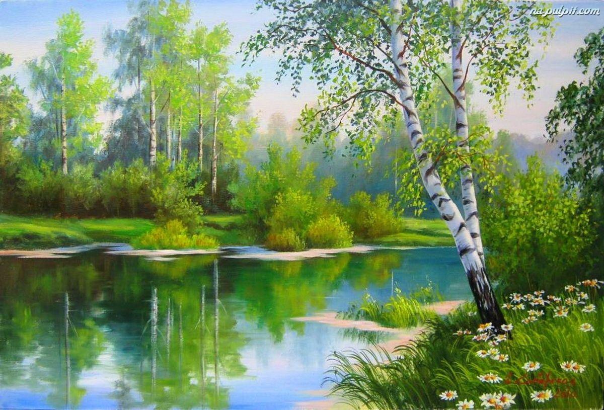 Drzewa, Łąka, Rzeka, Kwiaty