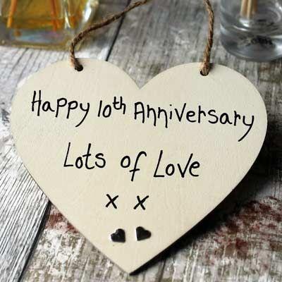 Happy 10th Wedding Anniversary Gift Heart   Wedding ...