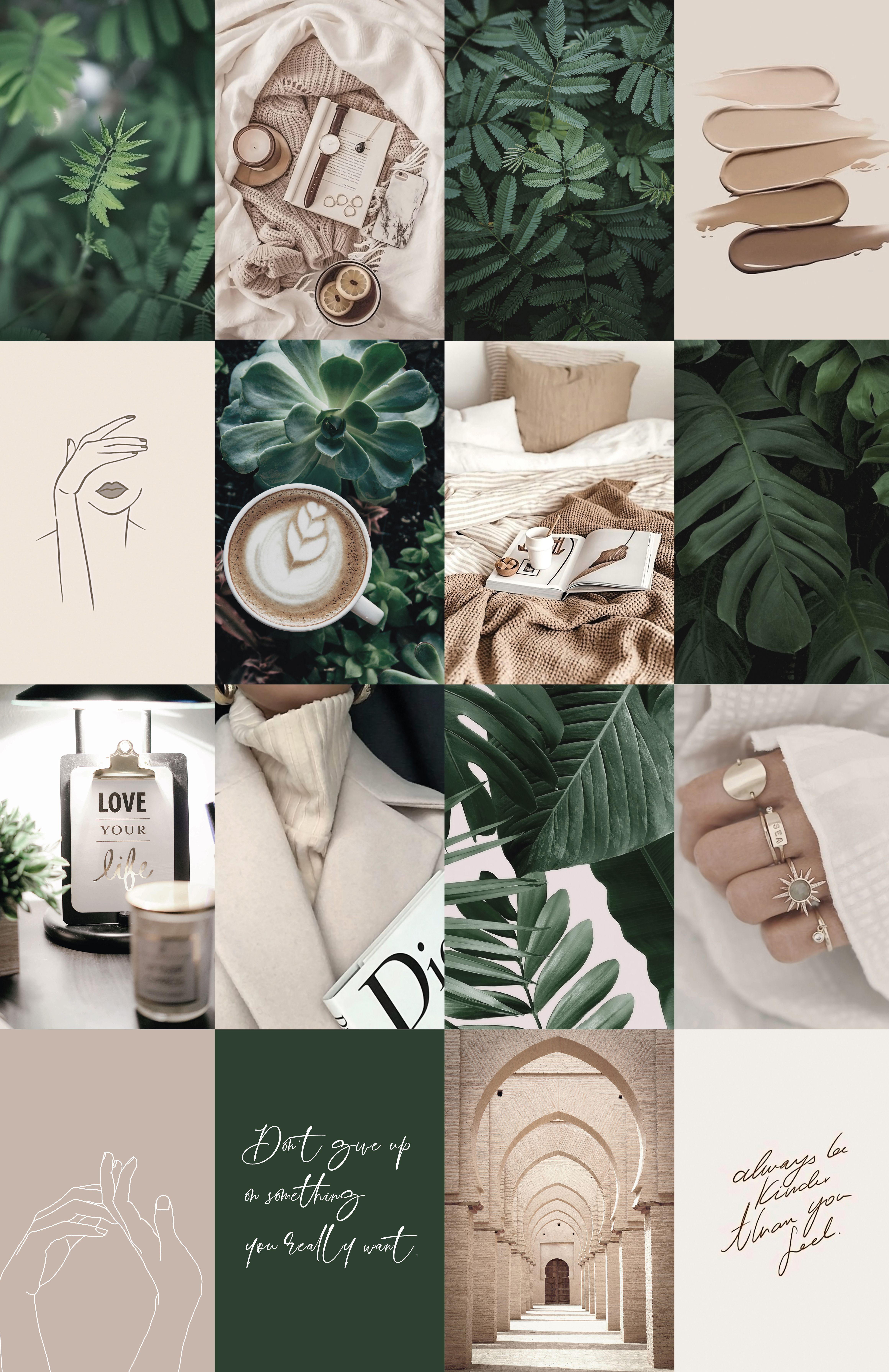 Boho Boujee Botanical Wall Collage Kit, Green Beige Aesthetic Photo Collage Kit, Printable Collage