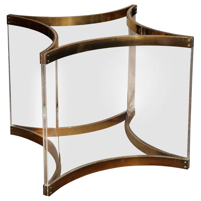 Lucite Brass Dining Or Center Table Base By Albrizzi