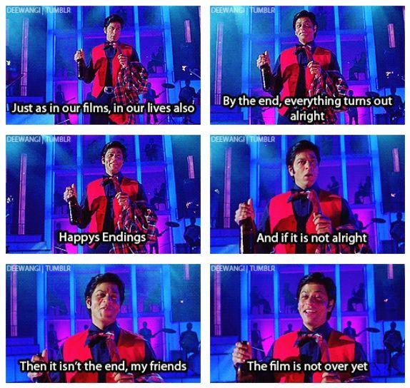 Shahrukh Khan Happys Endings Om Shanti Om 2007 Picture Abhi Baki Hai Mere Dost Bollywood Funny Bollywood Quotes Om Shanti Om