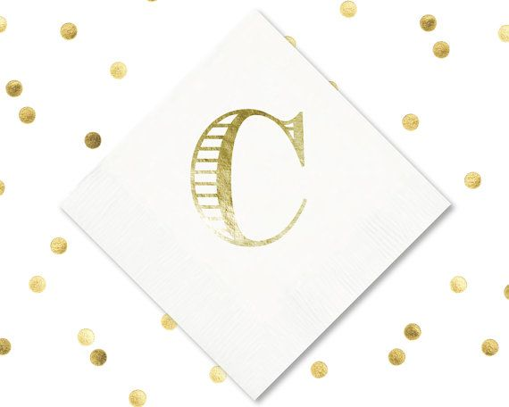 C Initial Napkin Monogram Wedding Napkins Foil Personalized Favors Tail By Siphipay