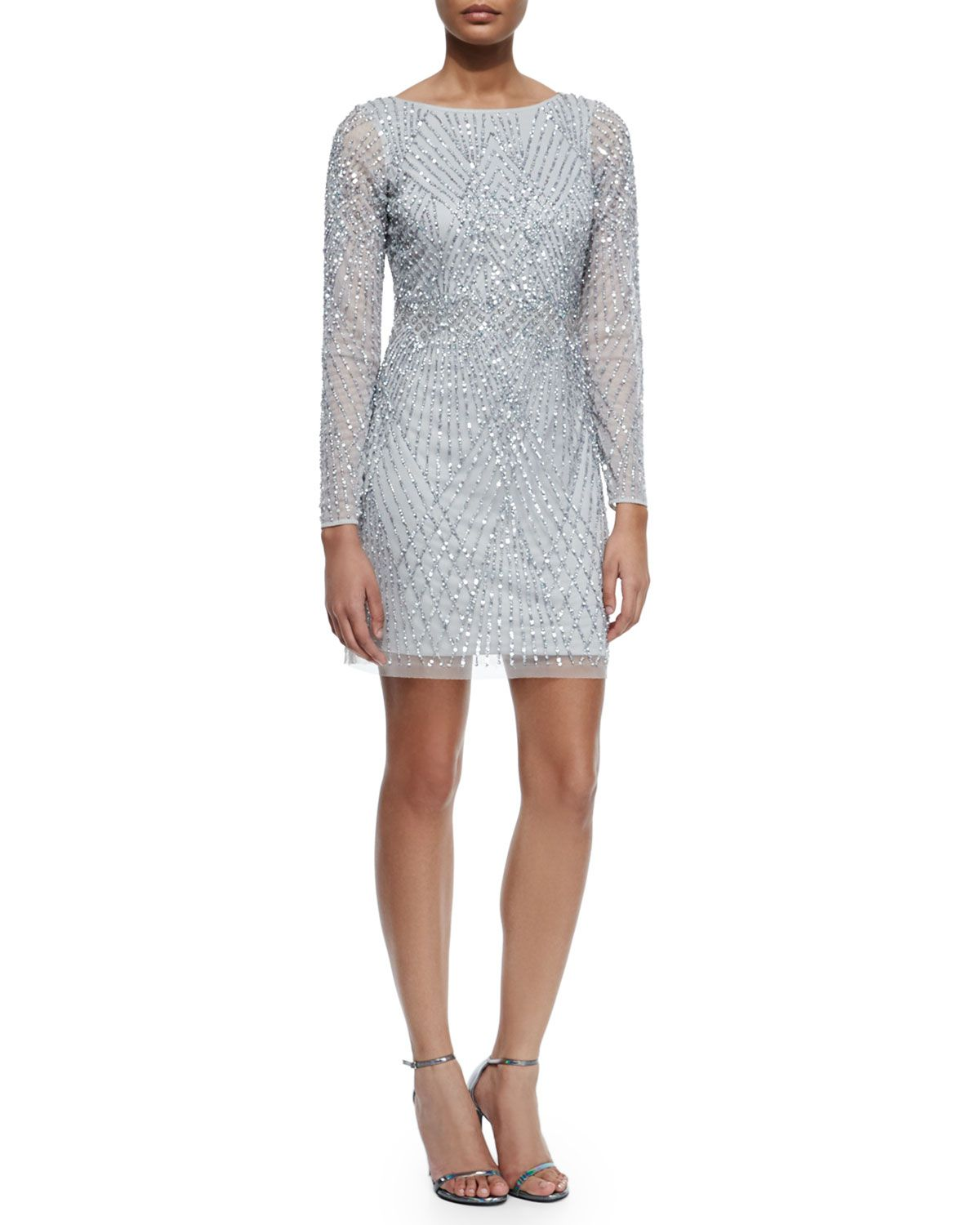 5f5d4f04024 Embellished Long-Sleeve Boatneck Cocktail Dress