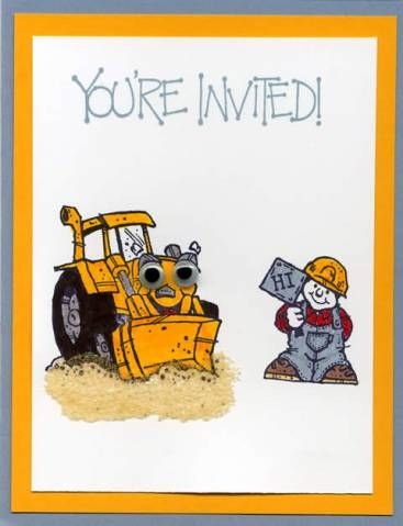Bob The Builder Invite Kids Cards Construction Birthday Truck Stamps