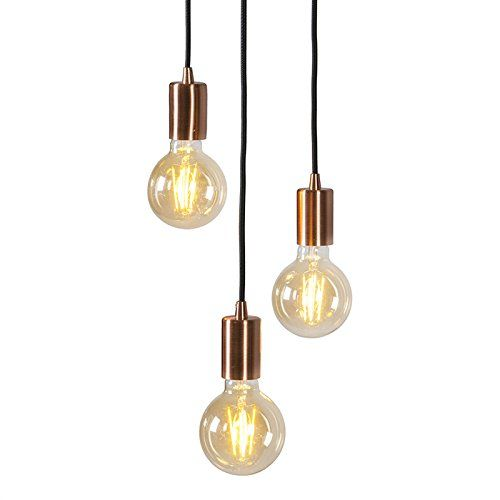 QAZQA Design / Modern / Pendelleuchte / Pendellampe / Hängelampe / Lampe /  Leuchte Facil 3 Flammig Kupfer / Innenbeleuchtung / Wohnzimmer /  Schlafzimmer ...